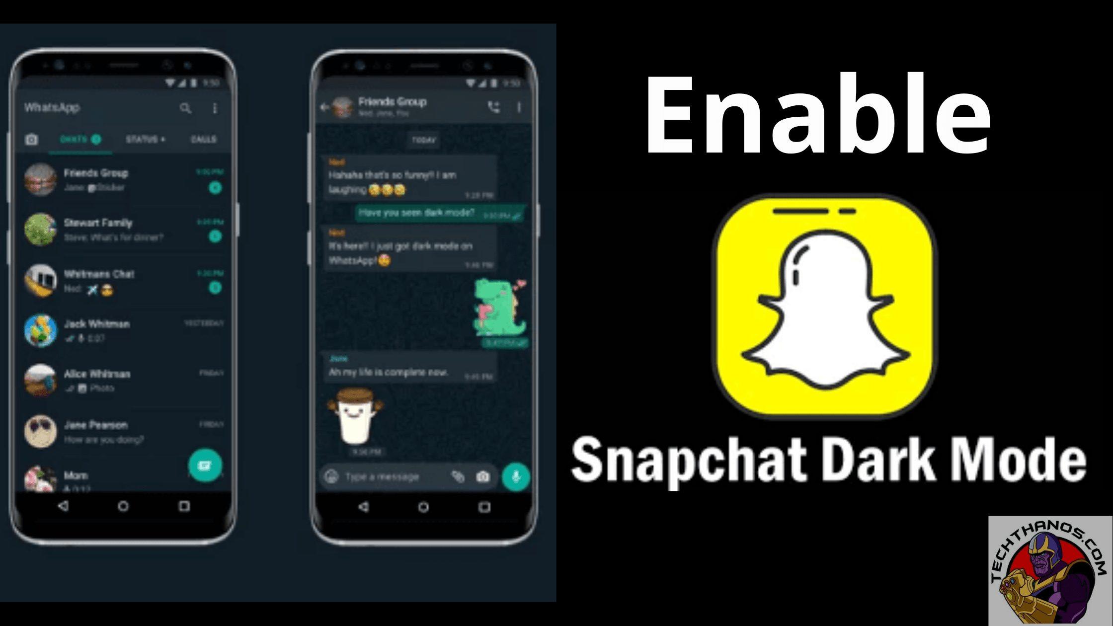 Enable Dark mode snapchat