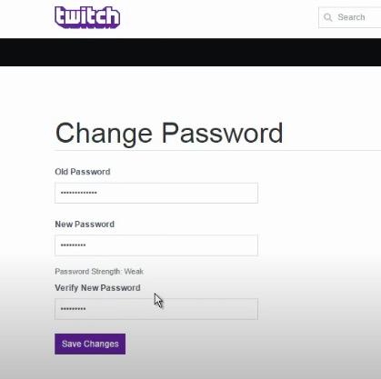 change password twitch