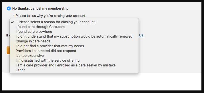 delete Care.com account