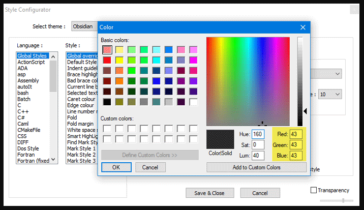 enable notepad++ dark mode