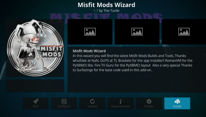 Install Misfit Mods Kodi Build