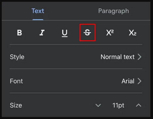 Strikethrough Text in Google Docs